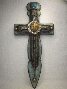 Large Western Rustic Wall Cross Sword Like 20x10