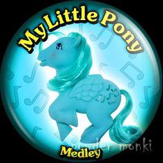 "Retro Toy Badge/Magnet - My Little Pony Y3 ""Medley"" www.powdermonki.co.uk"