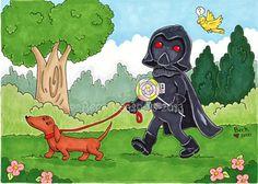 Darth Vader's Day Off Star Wars Cartoon Art Print by Beckadoodles, $10.00