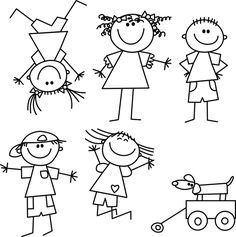 Free Image on Pixabay - Kids, Drawing, Lines, Girl, Boy Easy Doodles Drawings, Art Drawings For Kids, Simple Doodles, Drawing For Kids, Cartoon Drawings, Tatoo Faith, Animal Outline, Kids Toy Store, Stick Figure Drawing