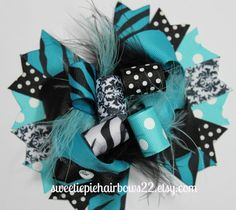 Turquoise and Black Over the Top Hair Bow by sweetiepiehairbows22, $11.99