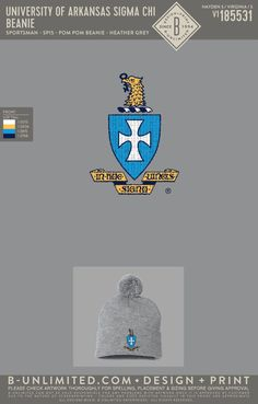Sigma Chi Crest Beanie PR | Fraternity Event | Greek Event #sigmachi #machi #sx Sigma Chi, University Of Arkansas, Henleys, Fraternity, Beanies, Heather Grey, Greek, Embroidery, Hats