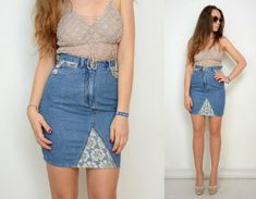 Mini Denim Skirt High waisted Lace jeans vintage XS size waist US 0 Jeans Refashion, Thrift Store Outfits, Lace Jeans, How To Make Skirt, Clothing Hacks, Denim Outfit, Skirt Outfits, Modest Outfits, Summer Outfits