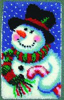 """Jolly Snowman 15"""" x 22"""" (38.1x55.9 cm) rug kit comes complete with stamped 3.3 mesh latch hook canvas, yarn is 2 x 3 ply pre-cut acrylic rug yarn (equivalent to 6 ply) and complete instructions."""
