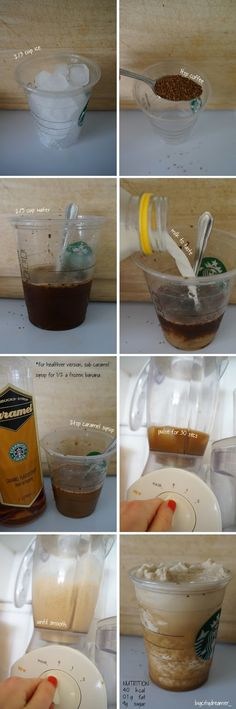 Homemade Healthy Starbucks Caramel Frappuccino, each drink costs only 10p and contains 40 calories and 0.1g fat!