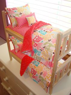"""10-Piece Watermelon Owl Bedding Set Fits 18""""-20"""" American Girl Doll Bunk Bed via Etsy."""