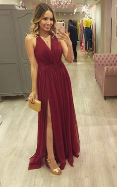 Simple Sexy V Neck Halter Chiffon Prom Dress With Slit Long Womans Evening Dress Glamorous Evening Dresses, Women's Evening Dresses, Pagent Dresses, Bridesmaid Dresses, Formal Dresses, School Dance Dresses, Slit Dress, Slimming World, Pulls