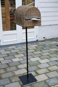Rustic Rattan Mailbox on Foot