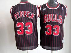 Adidas NBA Chicago Bulls 33 Scottie Pippen Black Red Stripe Throwback Red Stripe Swingman Jersey