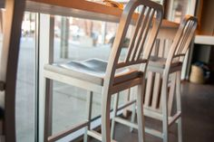 Siren Barstools - Available with wood, aluminum or upholstered seat  Grand Rapids Chair Co.  www.grandrapidschair.com