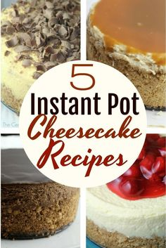 5 Instant Pot Cheesecake Recipes The Instant Pot is a wonderful way to make yummy cheesecake – here are 5 must-try cheesecake recipes you will want to try making in your Instant Pot! Instant Pot Cheesecake Recipe, Best Instant Pot Recipe, Instant Pot Dinner Recipes, Cheesecake Recipes, Pumpkin Cheesecake, Chocolate Cheesecake, Instant Recipes, Instant Pot Pressure Cooker, Pressure Cooker Recipes