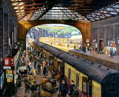 The Terminus, Penzance Station, Cornwall by Stanhope Alexander Forbes. [Painted: 1925]