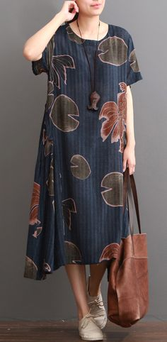 Navy floral linen dress summer dresses plus size sundress short sleeve