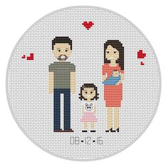 Family portrait PDF Cross stitch pattern Anniversary от Xrestyk