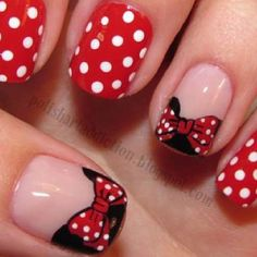 Minnie mouse nails - how cute