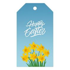 Dafoddils and colourful eggs Easter Gift Tags  $9.55  by IrinaFraser  - cyo customize personalize unique diy idea
