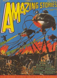 Amazing Stories, August 1927. Cover by Frank R Paul