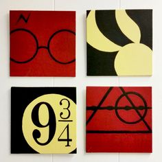 A set of 4 Harry Potter Minimalist Hand Painted Acrylic Canvas by ShinyShoesnDecor on Etsy https://www.etsy.com/listing/225111767/a-set-of-4-harry-potter-minimalist-hand