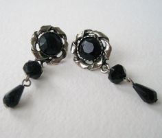Vintage 80s Goth Victorian Signed Silvertone Black Onyx Rhinestone Dangle Earrings by ThePaisleyUnicorn, $3.00