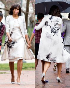 In her Sunday best Michelle Obama arrived at St John's Episcopal Church for the March 31st Easter service in a lovely Prabal Gurung floral print white dress with matching coat. [Photo Credit: Drew Angerer/Startraks Photo]