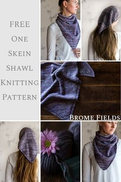 Dec 2019 - Learn how to knit a cute boho style bandana. Perfect for hiding messy hair, or keep it from getting wind-blown. It makes a light summer scarf too! And it would make the cutest shawl for a 2 year old :) Designer Knitting Patterns, Knitting Patterns Free, Free Knitting, Free Pattern, Knit Shrug, Diy Scarf, Triangle Scarf, Learn How To Knit, Knitting For Beginners