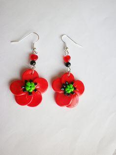 boucle d oreille fimo nature fleur rouge et noir pavot coquelicot perle coeur ENVOI GRATUIT : Boucles d'oreille par fimo-relie
