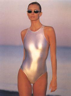 Nikki Taylor - Metallic Swimsuit 1990's, T.