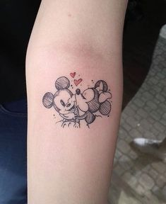 Mickey and Minnie Smooch - Disney Tattoo - tattoos Mickey Tattoo, Mickey And Minnie Tattoos, Tattoo Disney, Disney Couple Tattoos, Cute Disney Tattoos, Disney Inspired Tattoos, Disney Sleeve Tattoos, Mini Tattoos, Body Art Tattoos