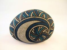 Painted Rock 3D Art Object in Blues, Brown, Charcoal, and Natural Gray Stone. Unique and OOAK Collectible Art for Home or Office by #IshiGallery, $750.00