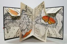 folded card Map fold plus butterflies popping out Mini Album Scrapbook, Libros Pop-up, Buch Design, Paper Engineering, Paper Book, Book Folding, Handmade Books, Map Art, Book Making