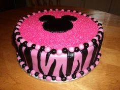 Minnie Mouse Zebra print cake for sweet little Gracies first Birthday