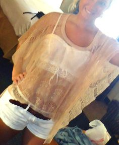 I love the see-through blouse over a girly made-to-be-seen bra look