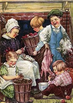 Illustration of children helping with chores by Clara M. Burd