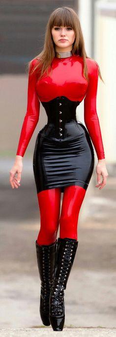 Waist cincher, collar, skirt, boots, latex.