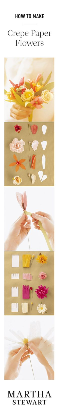 DIY : How to make crepe-paper flowers.now I just need the patience to do this.maybe a flower making party! Handmade Flowers, Diy Flowers, Fabric Flowers, Book Flowers, Real Flowers, Diy Paper, Paper Art, Paper Crafts, Diy Crafts
