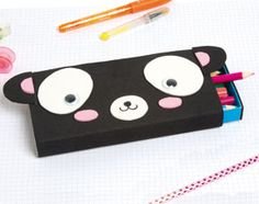 A Panda Kit from a box of Kiri and Foam Paper - bricolage enfants - Origami Diy Arts And Crafts, Diy Craft Projects, Diy Crafts For Kids, Bunny Origami, Origami Butterfly, Christmas Origami, Kids Christmas, Kawaii Diy, Diy Back To School