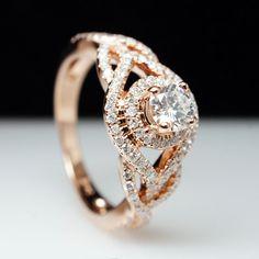 Vintage Style Rose Gold Diamond Engagement Ring #rosegold #jamiekatesbridal