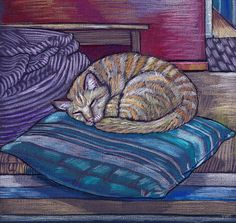 cat on a cushion  by vian