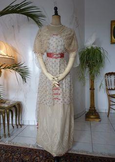 Titanic Era Summer Dress, Parisian Label, ca. 1912