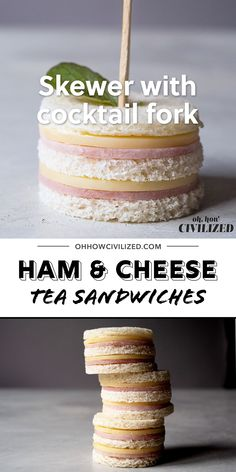Freaking cute ham and cheese sandwiches perfect for afternoon tea, parties, and snack time! Two bites and they're gone. Ham and Cheese Sandwiches for Tea Time Double stacked and gone in bites, these ham Afternoon Tea Recipes, Afternoon Tea Parties, High Tea Parties, Tea Time Recipes, Tea Party Recipes, Tea Party Sandwiches Recipes, Afternoon Tea For Two, English Afternoon Tea, Snacks Für Party