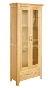 camberley oak 2 door 1 drawer display cabinet camberley oak 2 door