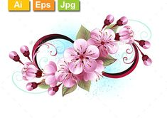 Buy Infinity with Sakura Blossom by on GraphicRiver. Symbol of infinity with flowers and leaves of blooming sakura blossoms on light background, painted with blue paint. Unendlichkeitssymbol Tattoos, Celtic Tattoos, Rose Tattoos, Infinity Tattoo Designs, Infinity Tattoos, Flower Tattoo Designs, Tattoo Fleur, Tattoos With Kids Names, Blossom Tattoo
