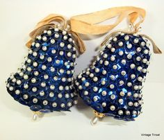 Vintage Sequin Ornaments, Christmas Ornaments, Bell Shape, Midnight Blue  (965-12)