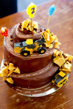 My nephew's 2nd birthday cake - Digger's Destruction