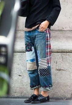 Fashion Patchwork Jeans Trend - Lilostyle Hassle-Free Walk-In Showers Article Body: Walk-in showers Patchwork Jeans, Patchwork Fabric, Sewing Clothes, Diy Clothes, Clothes Refashion, Looks Style, Style Me, Jean Rapiécé, Mode Hippie