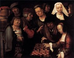 The Game of Chess ~ Lucas van Leyden (Netherlands,1494-1533) ~ Lucas van Leyden, also named either Lucas Hugensz or Lucas Jacobsz, was a Dutch engraver and painter, born and mainly active in Leiden.