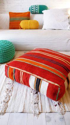 Gypsy Interior Design Dress My Wagon| Moroccan Kilim pouf Stripe by lacasadecoto on Etsy