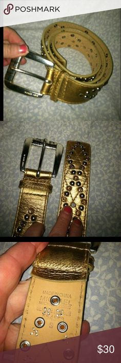 """Michael KORS rhinestone belt Gold belt with silver and gold rhinestones. Size small. 1.5"""" wide. Minor scratches on hardware. See pictures for wear. KORS Michael Kors Accessories Belts"""