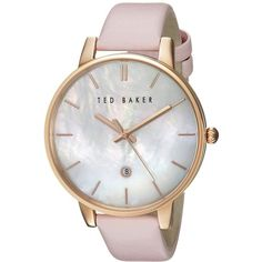 Ted Baker Classic Charm Collection - 10026423 (Rose... (€155) ❤ liked on Polyvore featuring jewelry, watches, analog wrist watch, leather strap watches, mother of pearl watches, rose gold wrist watch and rose gold jewellery