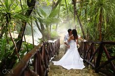 Trash the dress in the jungle of the Riviera Maya. Pure romance!  Mexico wedding photographers Del Sol Photography